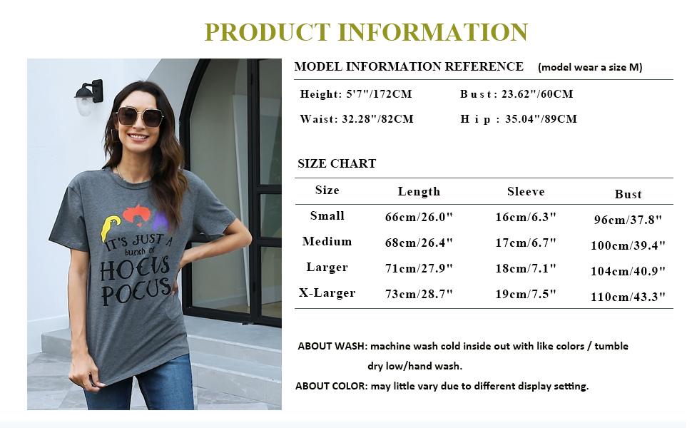 Hocus Pocus T-Shirt Funny Graphic Tee Shirt for Women Halloween Short Sleeve T Shirts