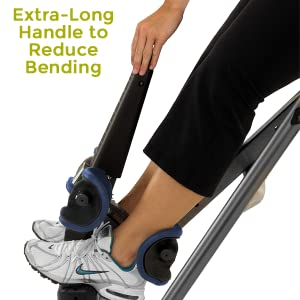 extra-long handle to reduce bending