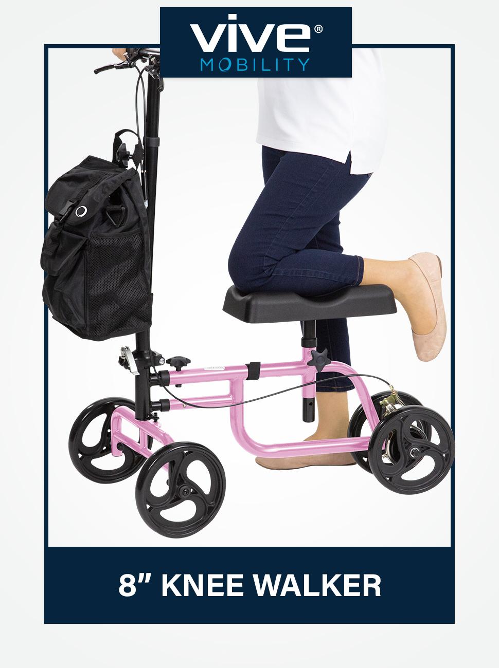 Vive Mobility Knee Walker Steerable Scooter Broken Leg, Foot, Ankle Injuries - Kneeling Quad Roller