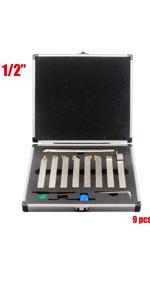 "1/2"" Shank 9 Pieces Indexable Lathe Carbide Turning amp; Boring Tool Set"