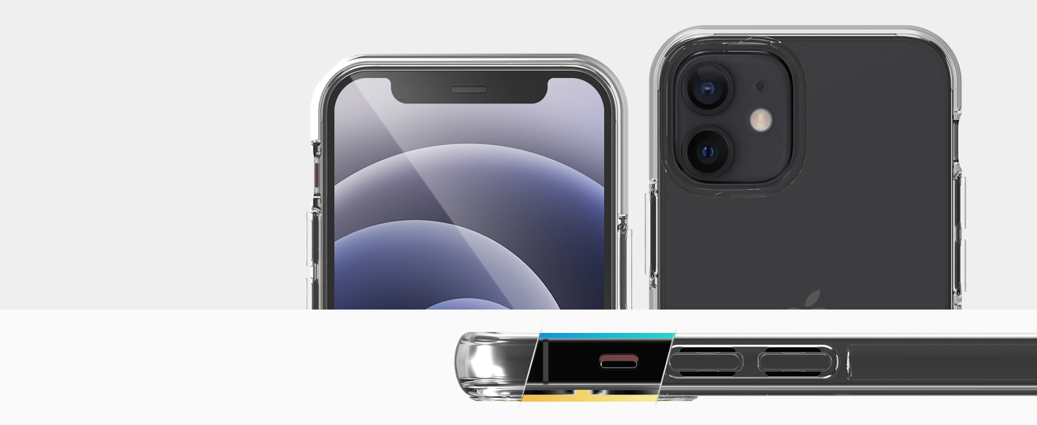 Sinjimoru iPhone 11 Case with Two Phone Loops 2Packs AirClo-Loop for iPhone11 Clear Hard Protective Phone Case for iPhone 11 with Phone Grip Black /& White