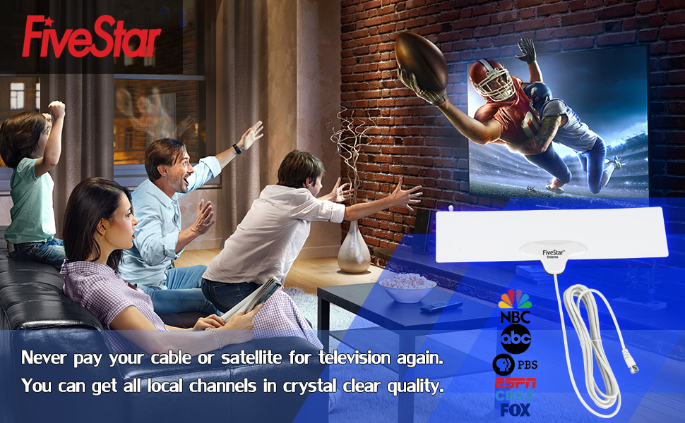 Five Star 0.5mm Thick Reversible 40 Miles Digital TV Antenna with Enhanced VHF UHF Reception