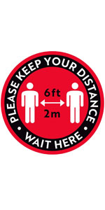 """Please Keep Your Distance Floor Stickers - 8"""" Round - Red/Black"""