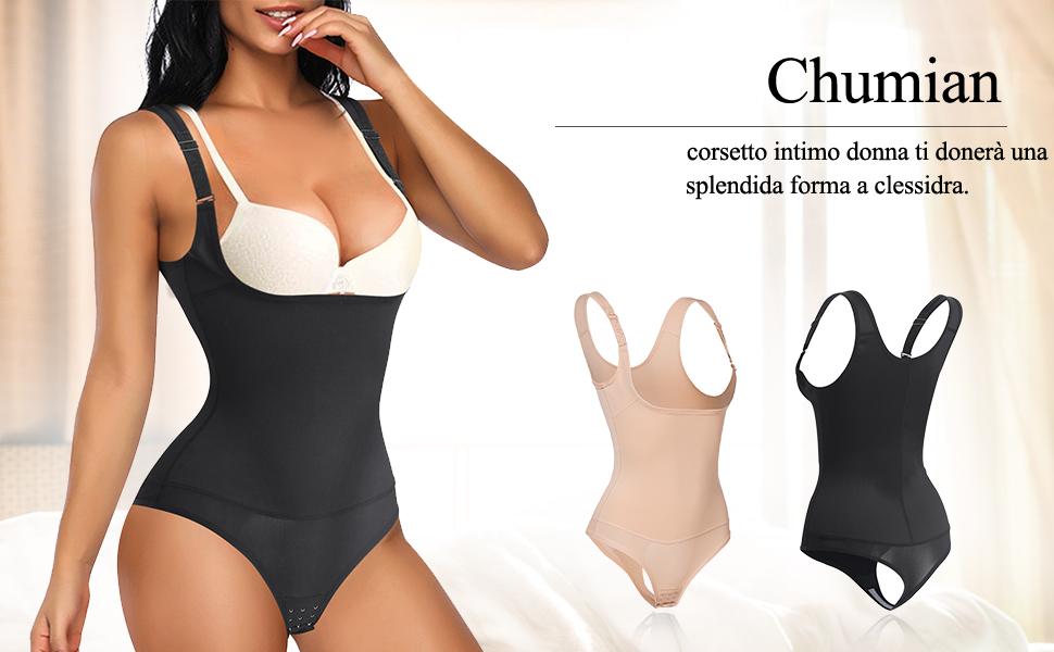 Chumian Donna Body Snellente Shaper Intimo Modellante Contenitivo Aperto Busto Shapewear Dimagrante Corsetto Pancia
