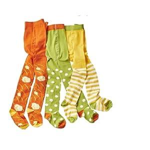 Baby-und Kinderstrumpfhosen grün weiss Punkte