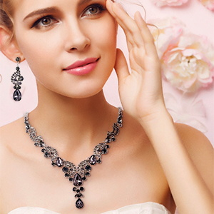 grey prom wedding necklace set for women