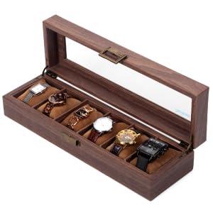Scatola per orologi in legno con 6 griglie