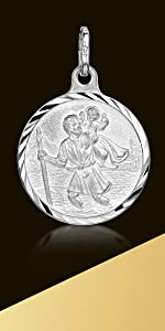 Amberta 925 Sterling Silver - Different Styles - Pendant with St Christopher Engraving