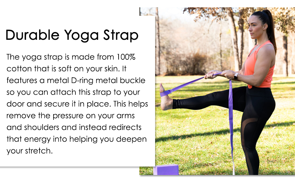 Deepen your yoga stretches with yoga accessories.