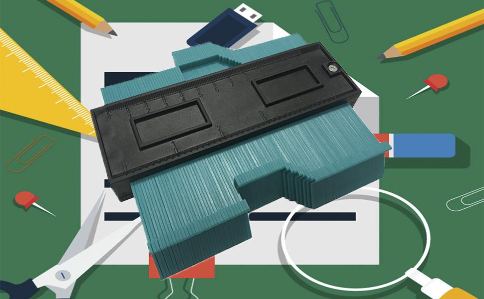 TICIOSH medidor de contornos de plástico de 5 pulgadas, forma multifuncional, regla de medición de forma de borde duplicador para medición precisa profesional: Amazon.es: Bricolaje y herramientas