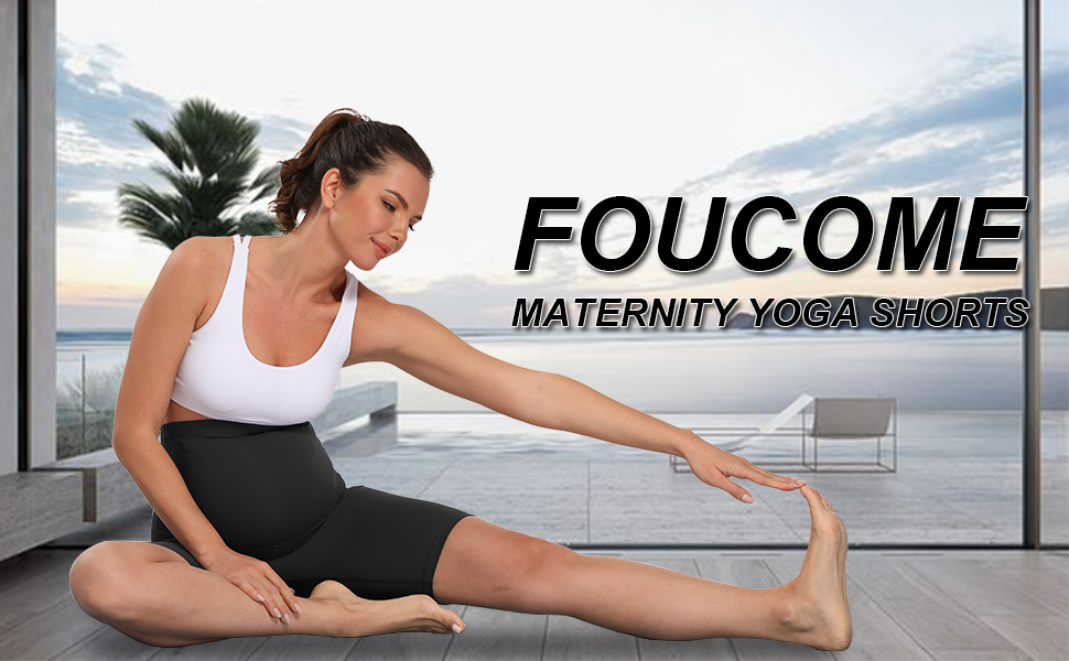 Foucome Maternity Yoga Shorts Stretchy Pregnancy Full Panel Workout Running Active Athletic Shorts