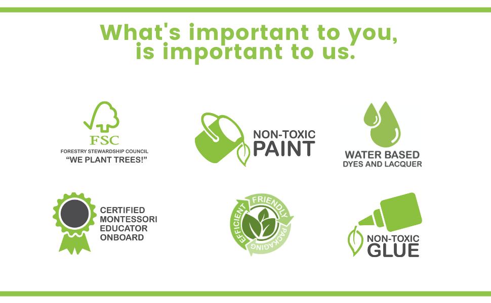 Montessori Inspired, FSC, Non-Toxic Glue, Water Based, Non Toxic Paint