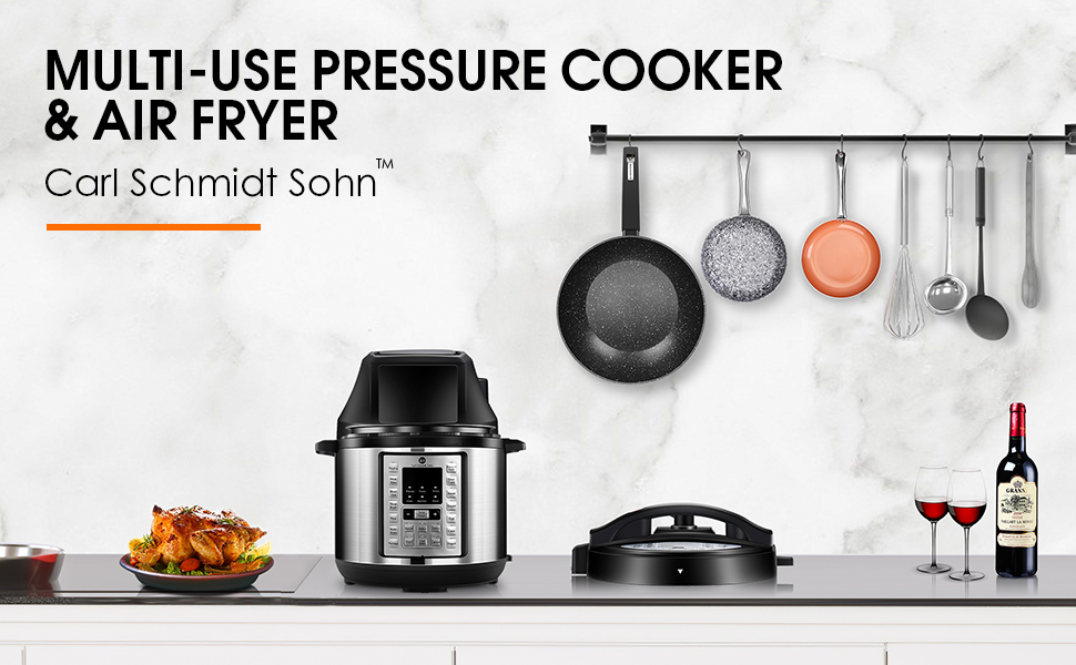 6.5Qt Pressure Cooker and Air Fryer Combos, Air Fryer All-in-One, 14 One-Touch Programs, 1500W