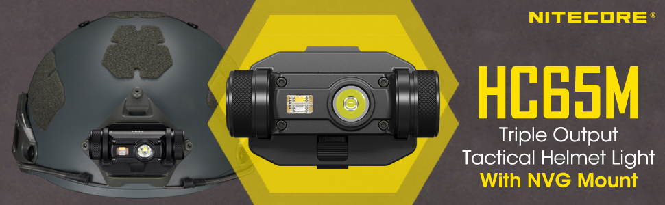 Nitecore HC65M Triple Output Tactical Headlamp with NVG mount banner