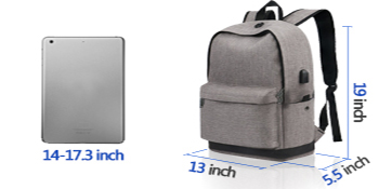 Large capacity Spacious main pocket with padded sleeve compartment holds a laptop up to 17.3 inches