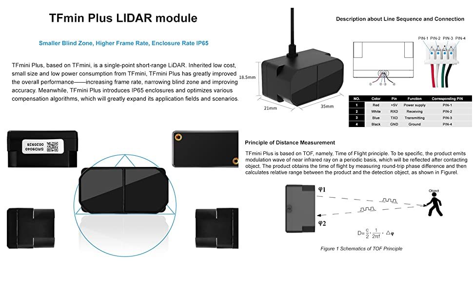 youyeetoo TFmini Plus Lidar Sensor Module Single-Point Ranging Module 0.1-12m Measurement Range Distance for Drone Industrial Sensing Robot Smart Home Support I//O UART and I2C