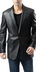 BGSD Men's Nicholas 1-Button Leather Blazer Lambskin Sport Coat Jacket