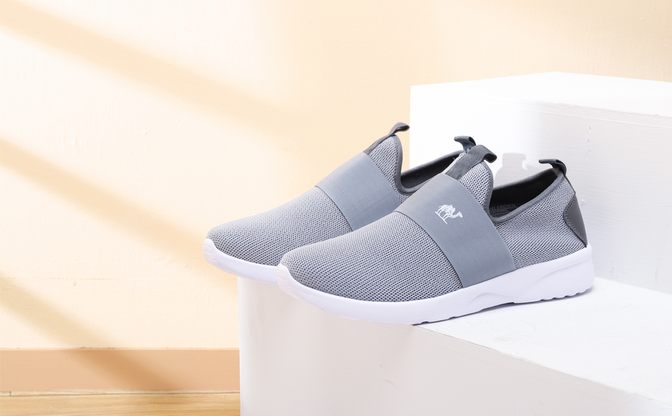 CAMEL CROWN Slip On Shoes Men Breathable Fly Knit Walking Sneakers Lightweight