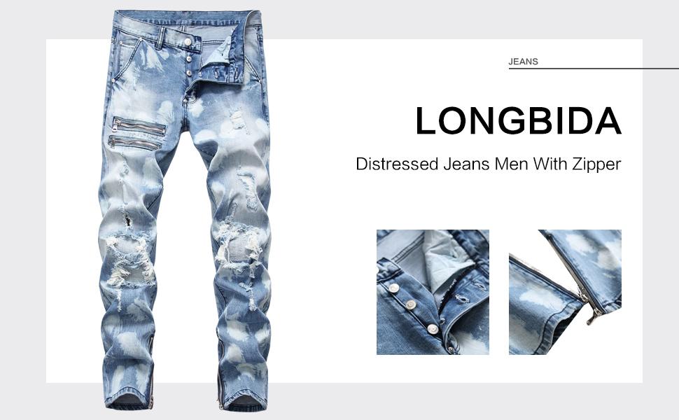 denim ripped jean men ripped jean skinny destroyed blue jean distressed jean stretch men zipper jean