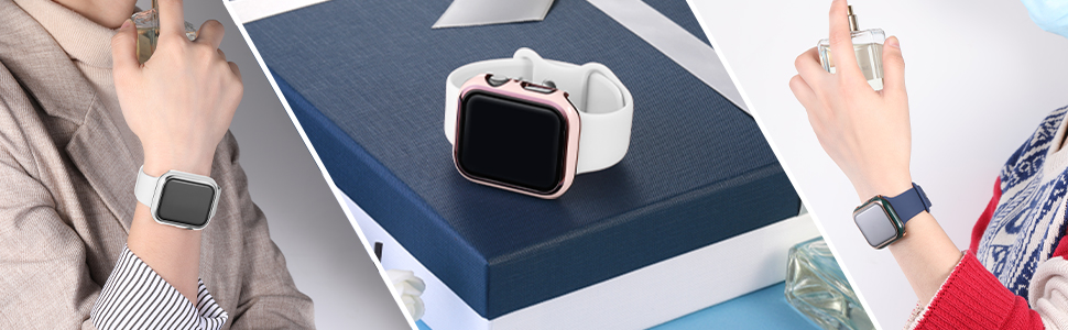 GEAK Compatible with Apple Watch Case 40/44mm Screen Protector, white bumper All-Around,series 4/5/6