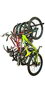 adjustable bike wall storage rack omni system 5 five bicycles custom metal steel indoor home shop #1