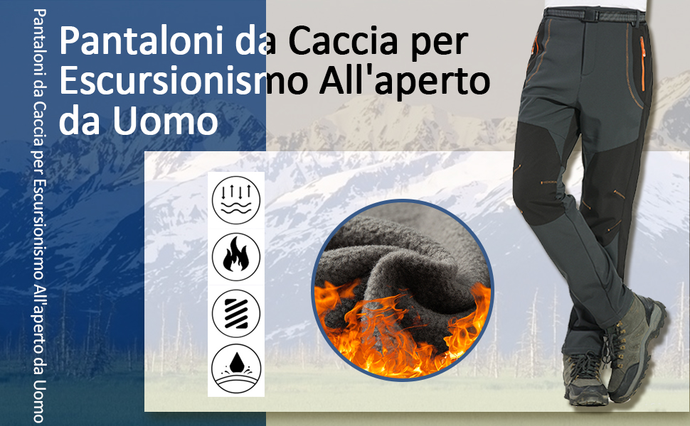 Freiesoldaten Uomo Allaperto Escursionismo Caccia Pantaloni Prova di Vento Softshell Termico Pantaloni con Cintura