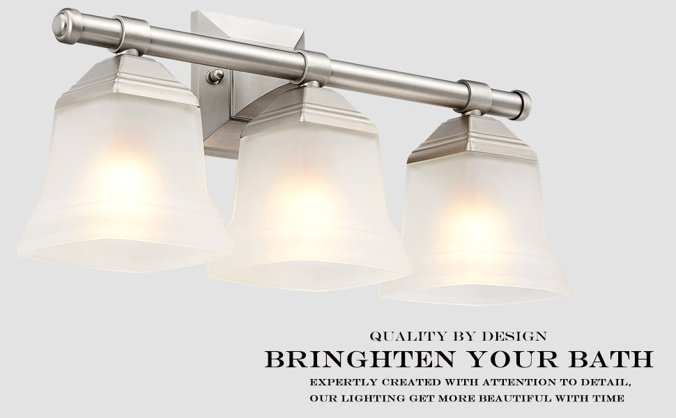 3 Lights Details about  /Vanity Bath Light Bar Interior Lighting Fixture Brushed Nickel