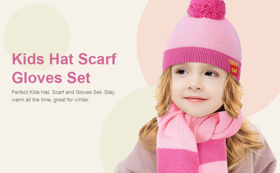 Toddler kids 3 PCS  Knit Beanie Hat Scarf Gloves Gift Set 2 T to 4 T