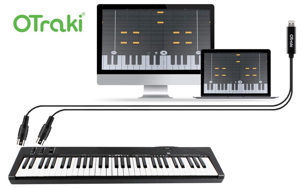 OTraki USB MIDI Cable 6Ft 2M USB a Midi 5 PIN IN-out Convertidor Teclado Keyboard Piano Música del Cable Adaptador para PC Teléfono Laptop