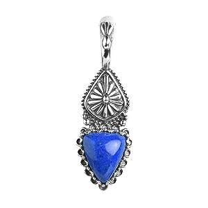 Sterling Silver Blue Lapis Triangle Shape Gemstone Concha Pendant Snap Hinge Bail Polished Oxidized