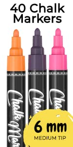 Bold Tip Chalk Markers - Pack of 40 Neon, Classic amp; Metallic Color Pens