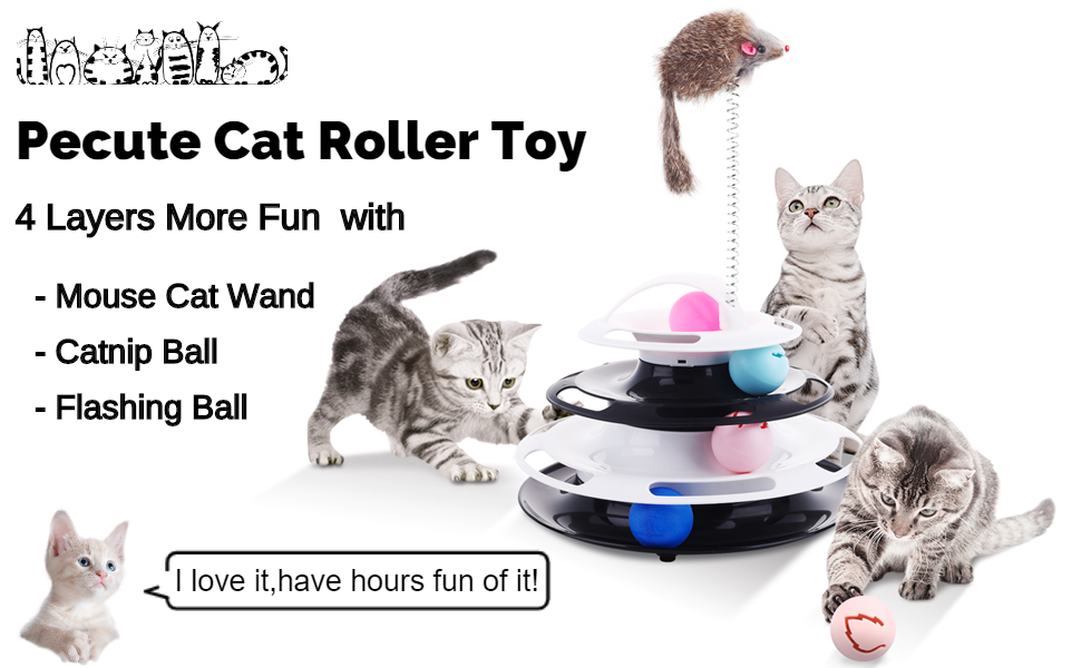 Pecute Cat Roller Toy 4 Layers More Fun with Upgraded Catnip Ball Flashing Ball and Plush Mouse Toy Wand Interactive for Cats Detachable Sturdy