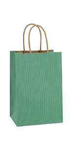 """BagDream 5.25x3.75x8"""" Green Paper Bags 100PCS"""