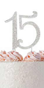 15 cake topper quinceanera birthday silver 15th party decorations fifteen decoration for girls