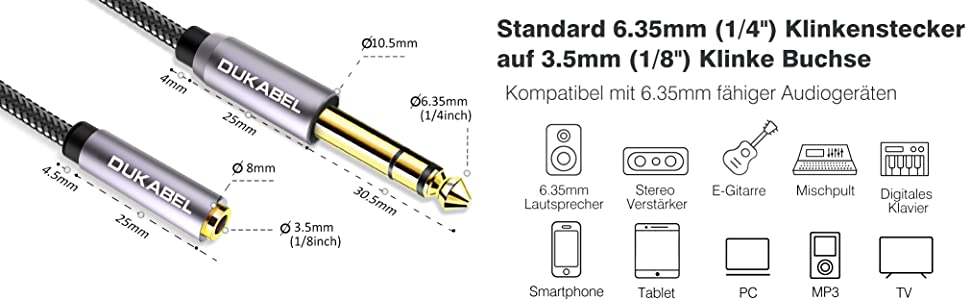 adapter klinke 6 3 auf 3 5