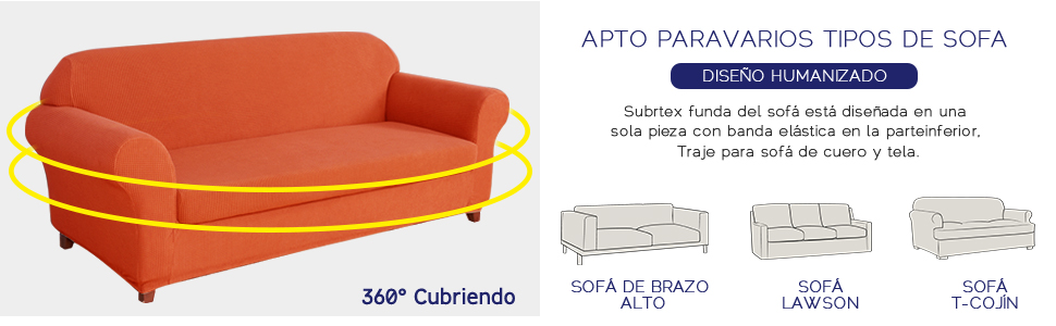 subrtex 1 Pieza Funda Sofa Elasticas Fundas de Sofa Antideslizante Cubierta Forros para Sofas Anti Arañazos Ajustable Protector (3 Plazas, Naranja)