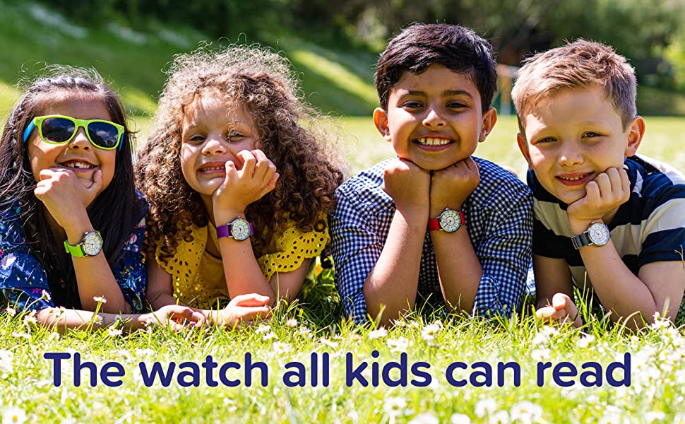 four kids wearing watches
