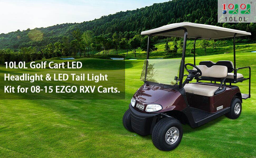10l0l Golf Cart Universal Deluxe Led Headlights And Tail Light Kits For 08 18 Ezgo Rxv Carts With Turn Signals Switch Horn Brake Lights Harness Must