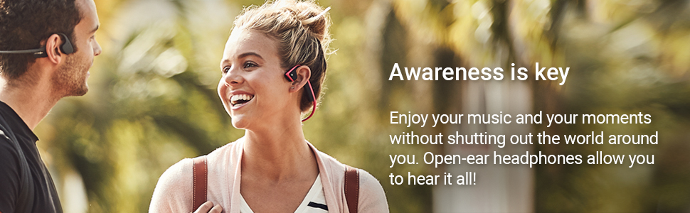 An open-ear design enables bud-free, pain-free listening and a secure fit.