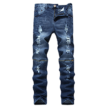 blue ripped jeans for men hip hop fashion