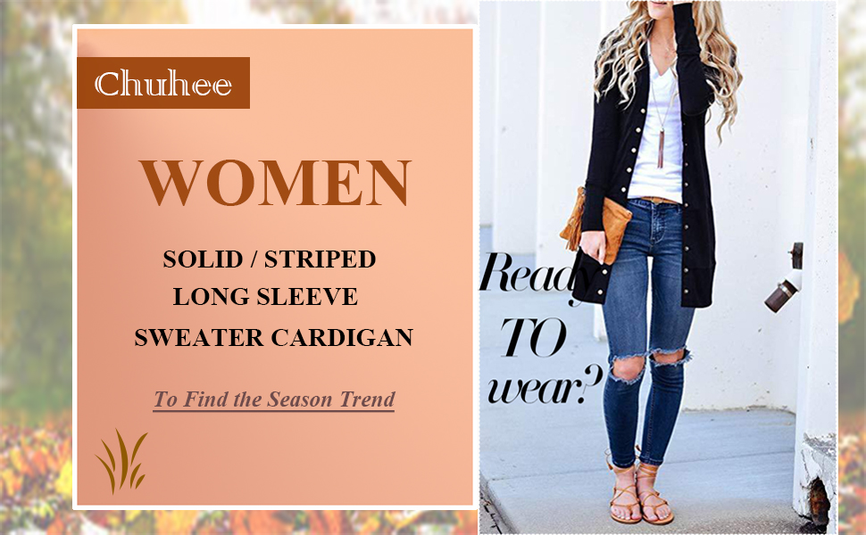 Chuhee Womens S-3XL Long Sleeve Knitwear Casual Snap Cardigans