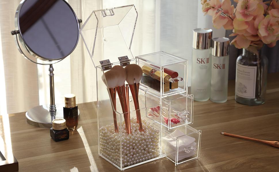 メイク 化粧ブラシ ケース 化粧筆ボックス フェイスブラシ収納 コスメ 化粧品 口紅