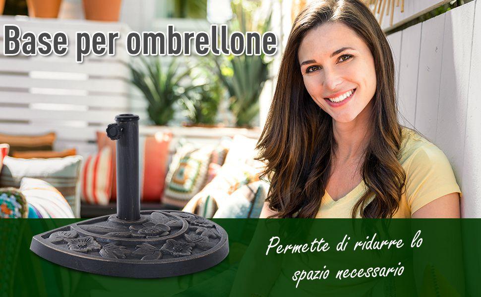 Outsunny Base per Ombrellone con Manovella da Giardino Resina Bronzo 50x31x32cm