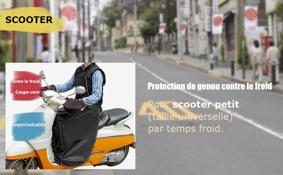 couvre-jambes universel Protection de scooter de pluie Couvre-jambes moto avec sangle pour scooter universel voitures /électriques Couvre-jambes de scoote Couvre-tablier de genoux avec gants de guidon