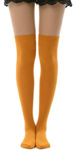 orange over knee socks