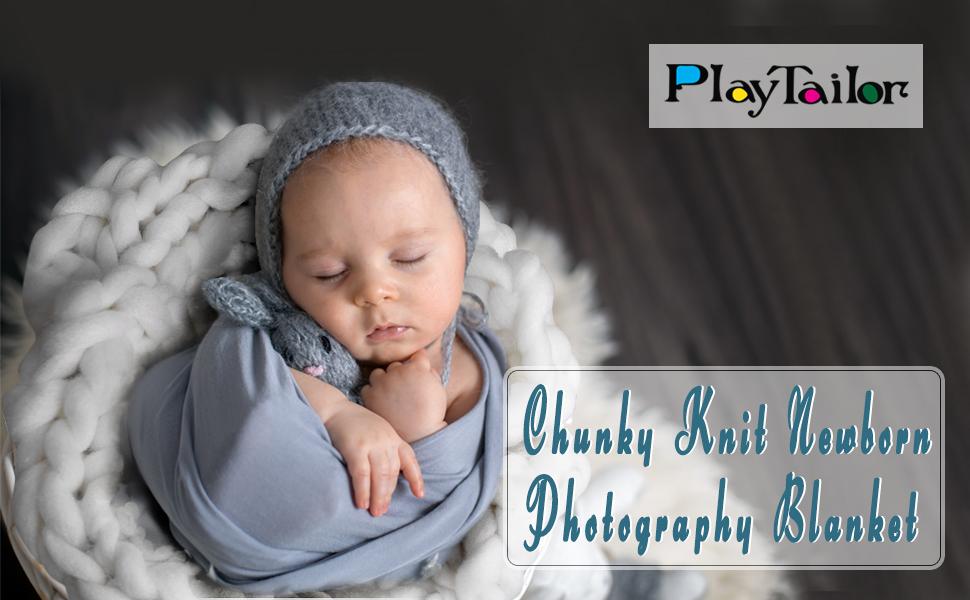 Newborn blanket and beanie set Photo Prop- Stretch wrap knitbysarah BLUEBERRY lush wrap and beanie Stitches by Sarah