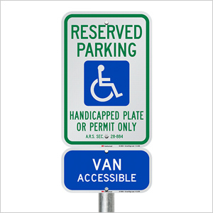 Reserved and Handicapped Parking Signs, Heavy-duty Aluminum Sign, Arizona-compliant