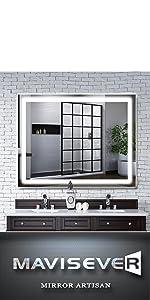 mavisever 48 x 36 inch lighted wall mirror for bathroom vanity backlit light mordern wall mounted