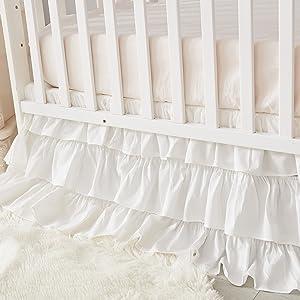 crib skrit white dust ruffle baby girl bed skirt