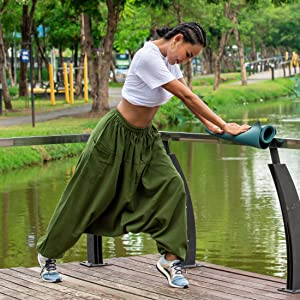 mens womens flowy loose fit lounge pajama aladdin hippie harem yoga pants for men women cotton
